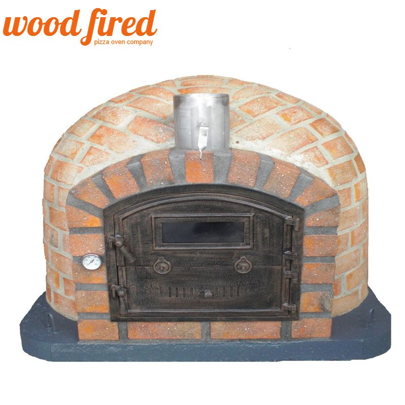 RUSTIC BRICK WOOD FIRED PIZZA OVEN WITH CAST DOOR AND INSULATION 110CM X  110CM